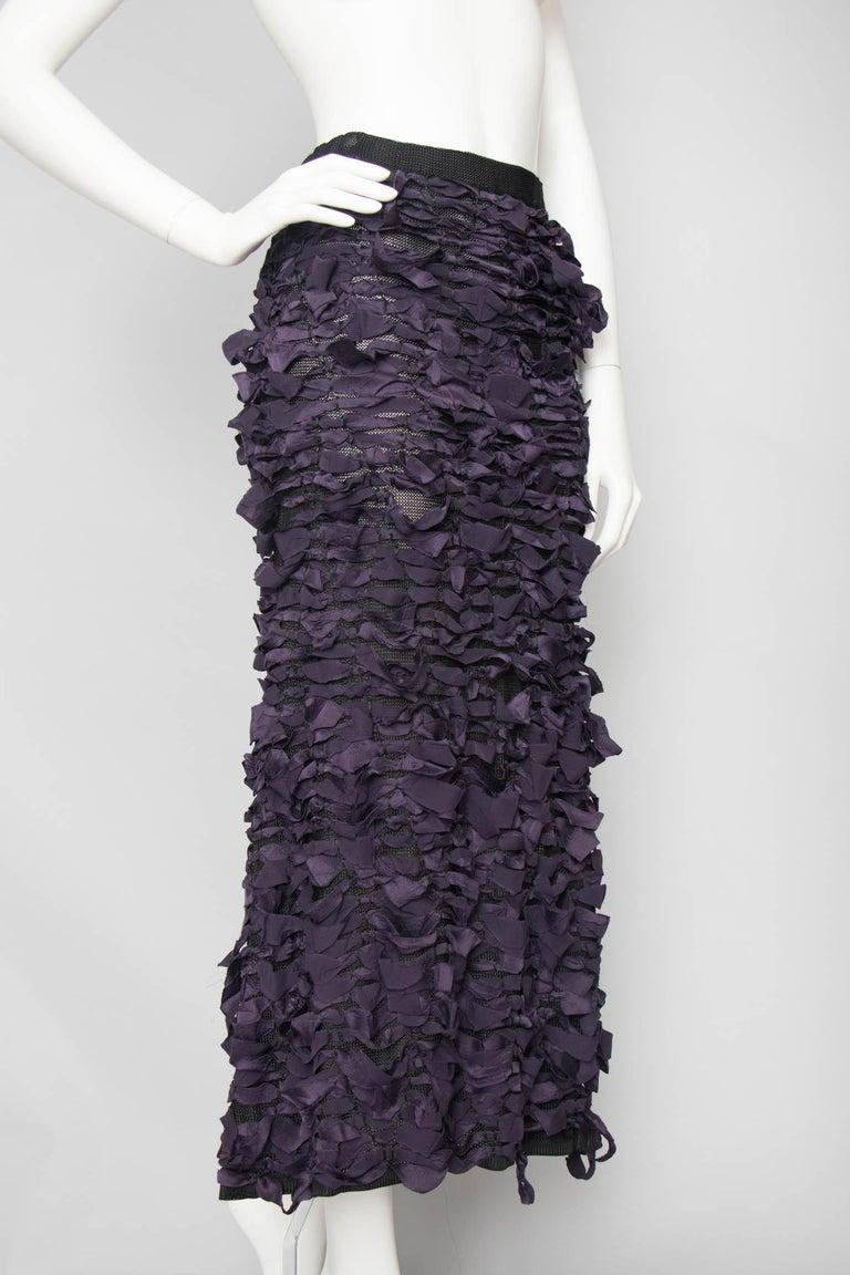 Black Yves Saint Laurent by Tom Ford Vintage Raw Ribbon Skirt, Fall 2001  For Sale