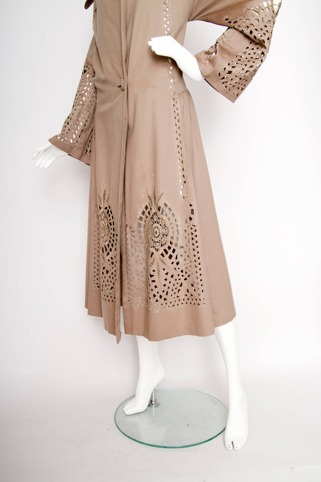 Brown 1920s Cashmere Duster Coat w Beautiful Cut Work Detail OS For Sale