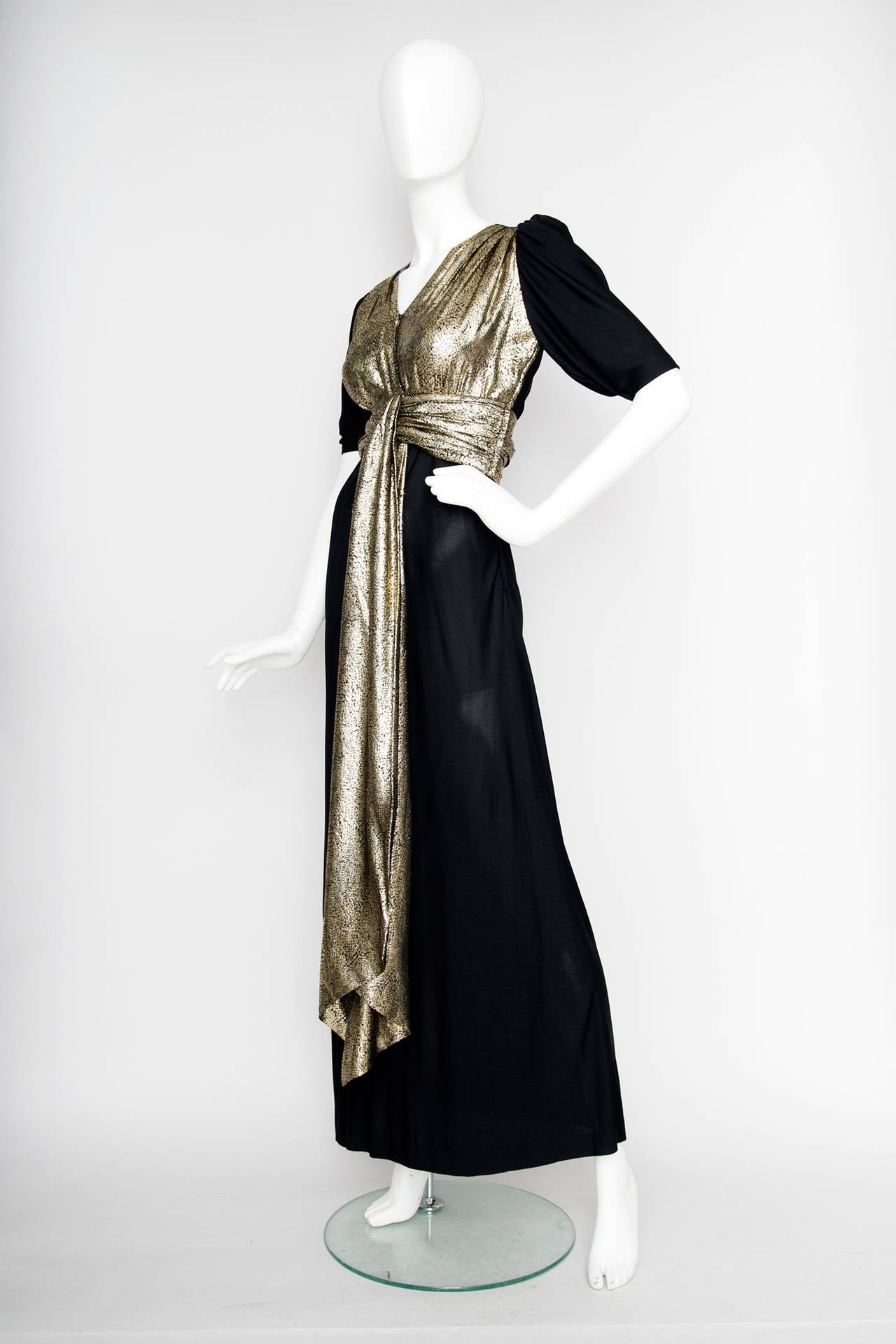 Yves Saint Laurent Black Silk and Gold Lamé Dress, 1970s  In Good Condition For Sale In Copenhagen, DK