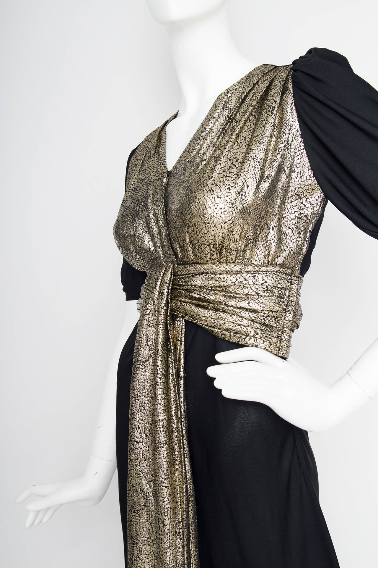 Yves Saint Laurent Black Silk and Gold Lamé Dress, 1970s  For Sale 1