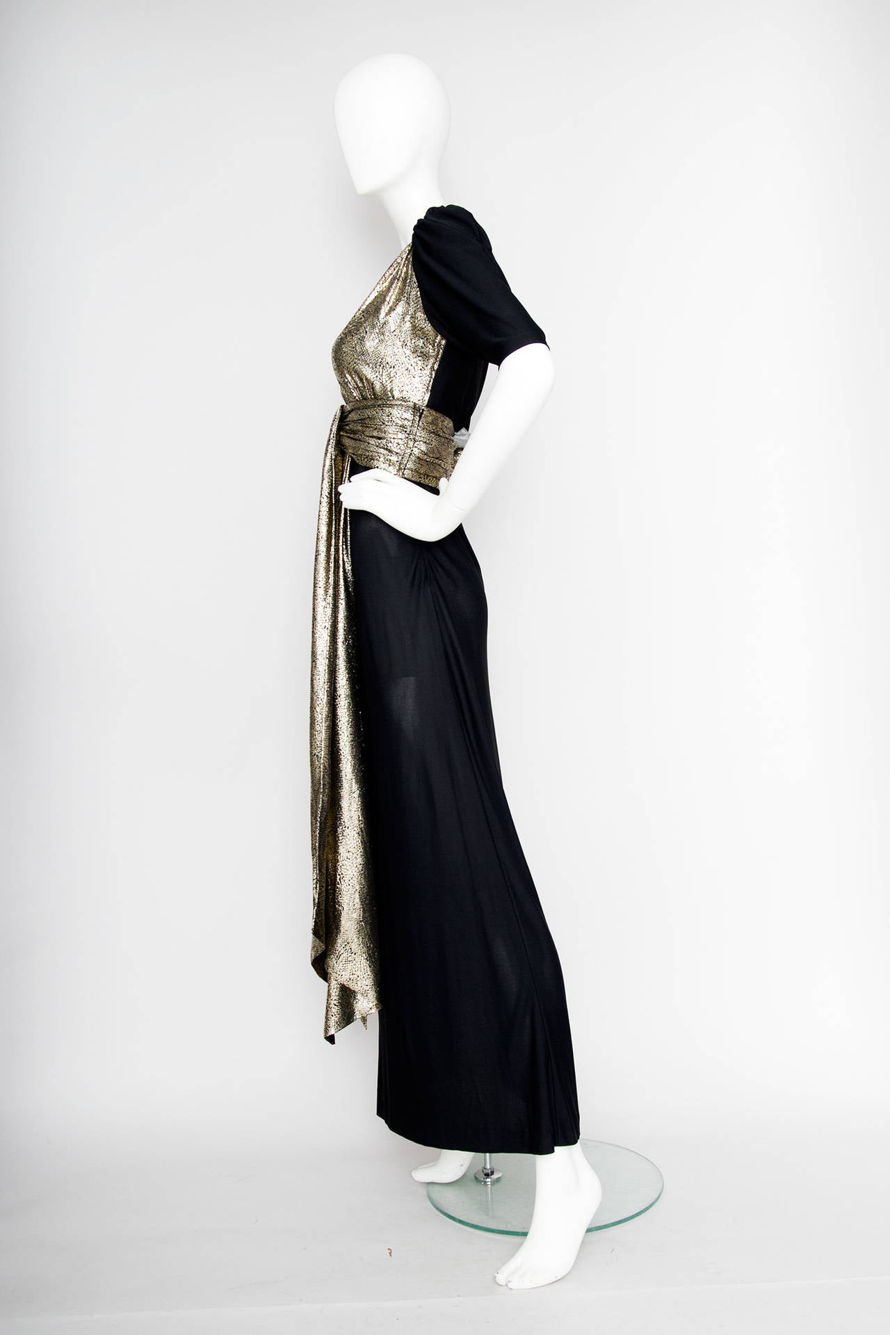 Women's Yves Saint Laurent Black Silk and Gold Lamé Dress, 1970s  For Sale