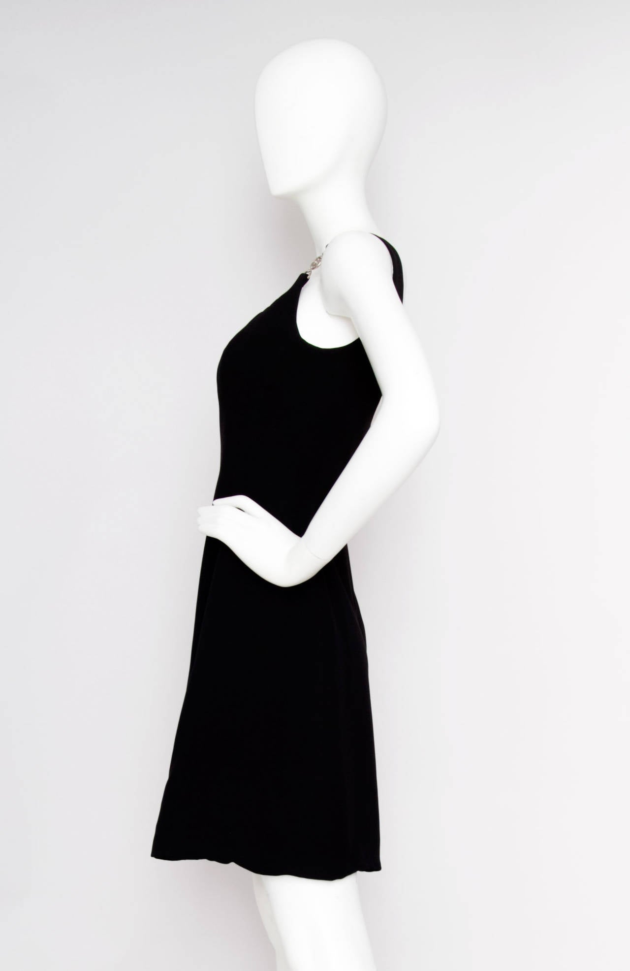 Early 1990s Gianni Versace Couture Little Black Dress w Medusa Buckle S 2