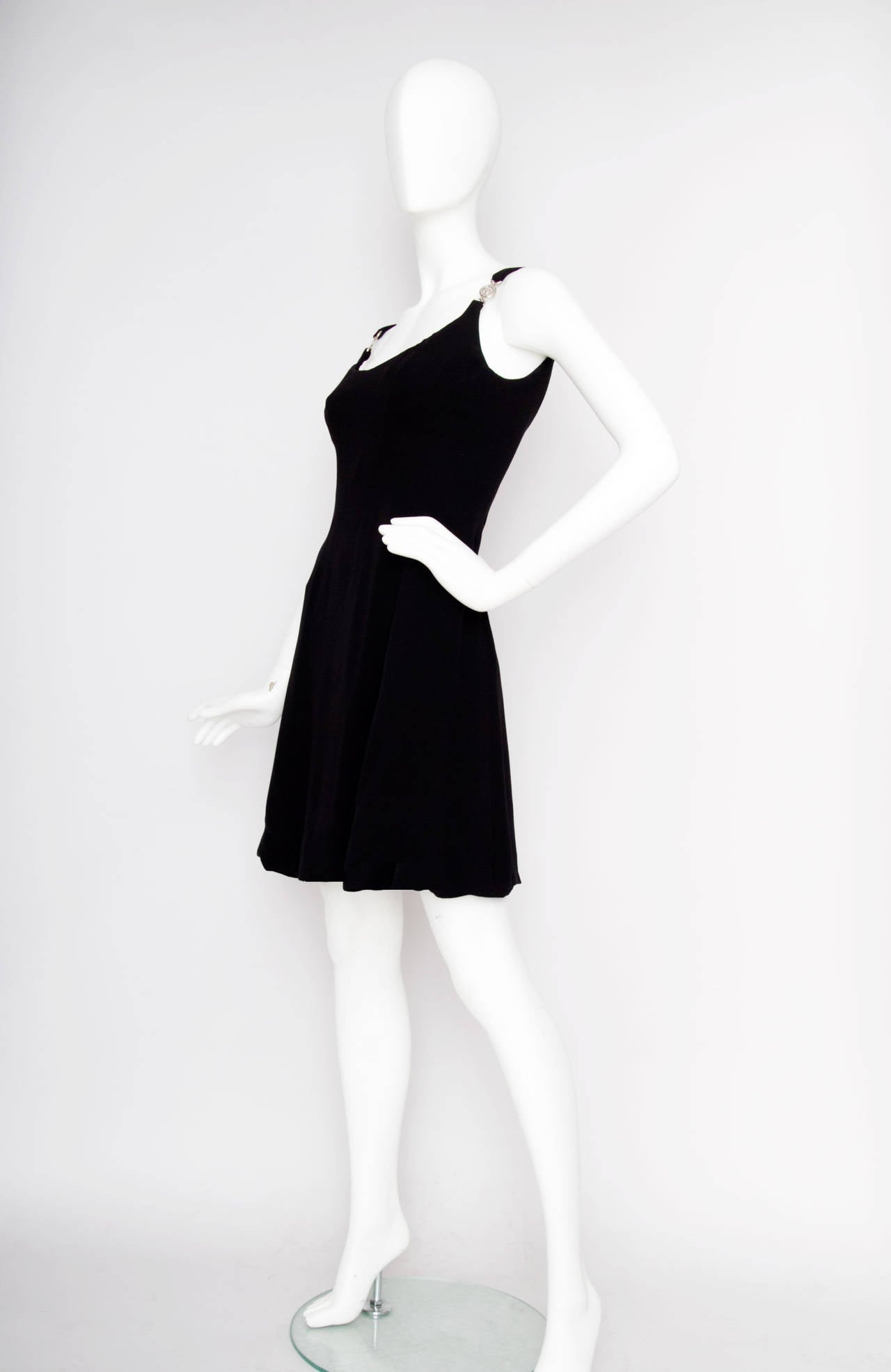 Early 1990s Gianni Versace Couture Little Black Dress w Medusa Buckle S 3