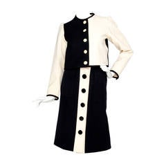 1980s Yves Saint Laurent Picasso Collection Wool Skirt Suit S