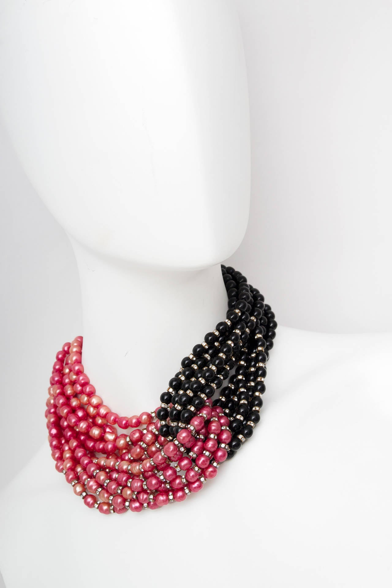 Stunning Late 1970s Céline Heavy Black & Pink Pearl Necklace 2