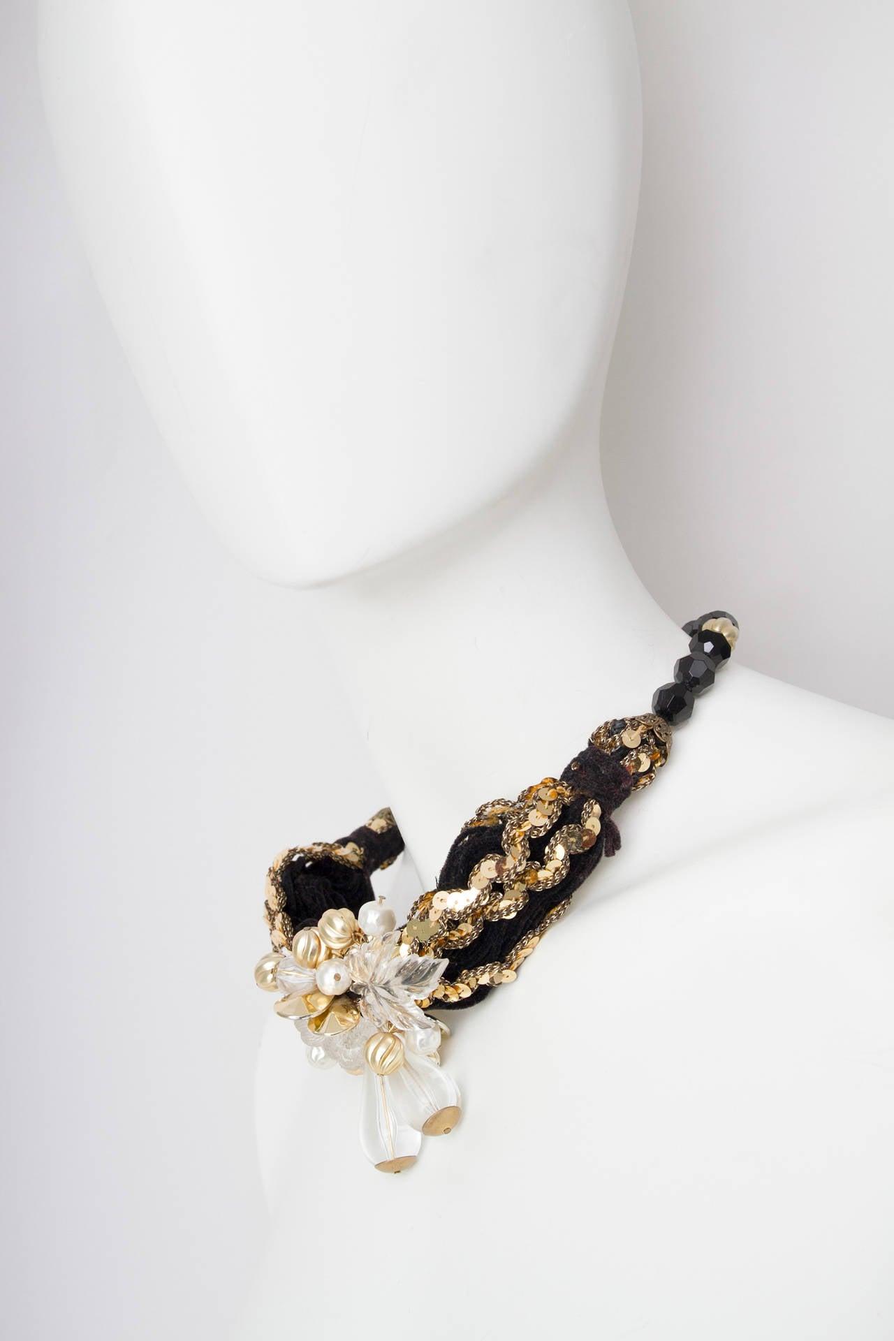 70s Pierre Cardin Black Beads & Gold Sequin Necklace 4