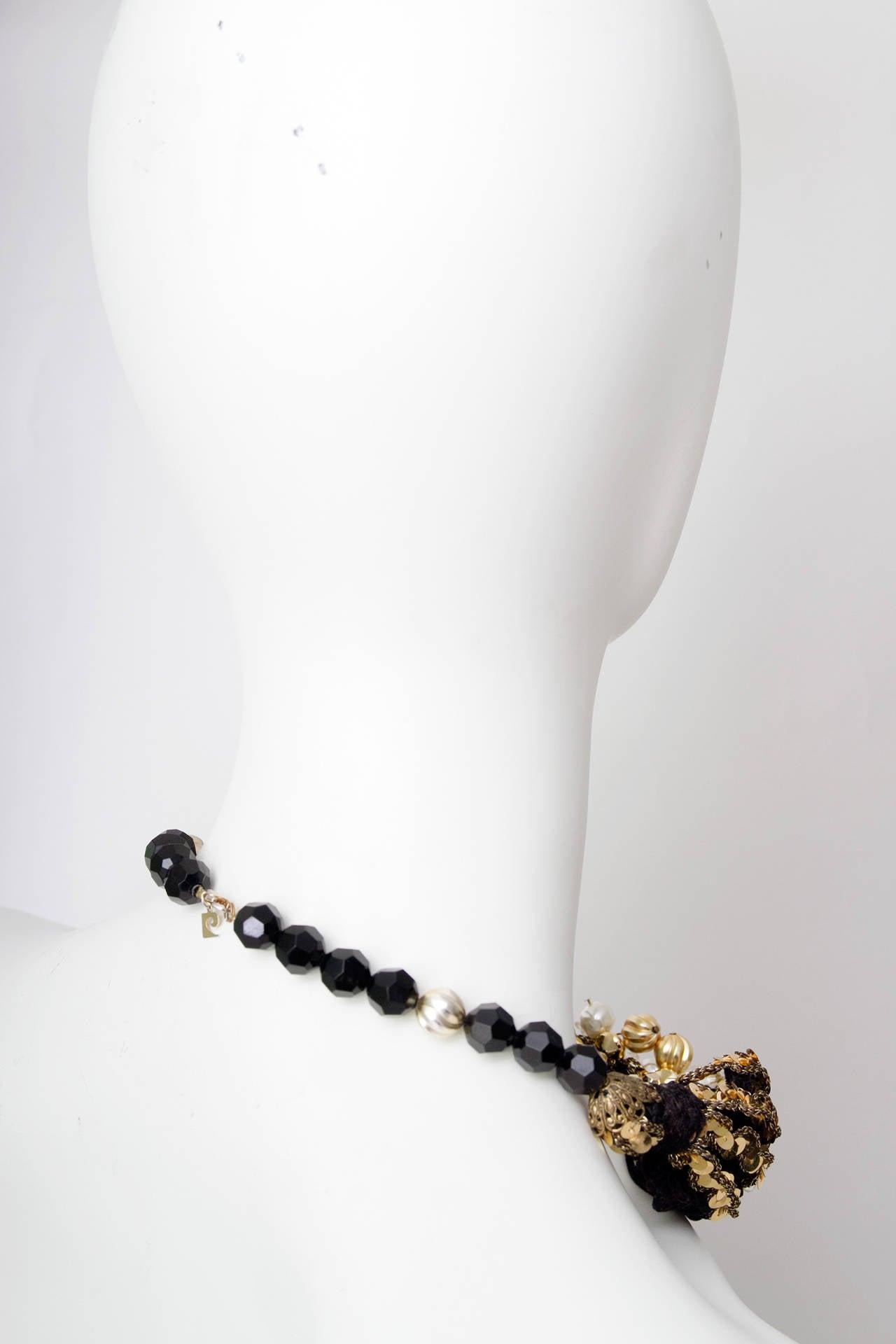 70s Pierre Cardin Black Beads & Gold Sequin Necklace 5