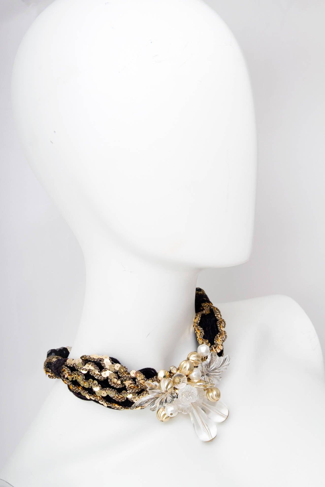 70s Pierre Cardin Black Beads & Gold Sequin Necklace 2