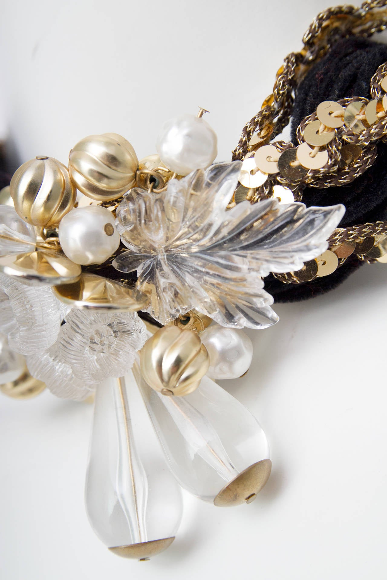 70s Pierre Cardin Black Beads & Gold Sequin Necklace 7