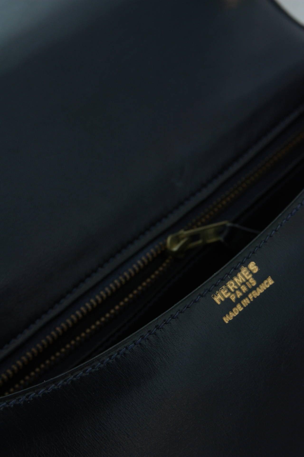 Hermes Vintage Navy Blue Box Leather Constance 23Cm at 1stdibs