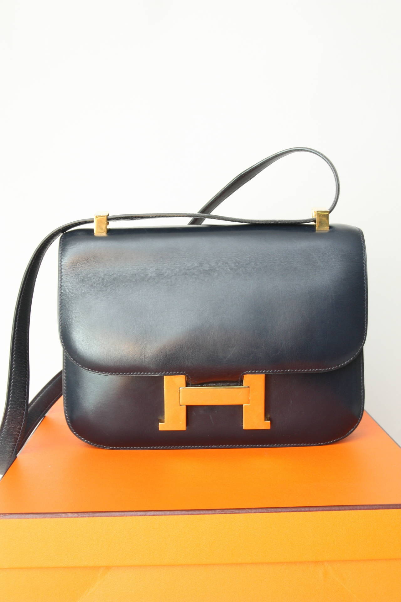 hermes vintage navy blue box leather constance 23cm