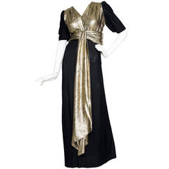 1970s Yves Saint Laurent Black Silk and Gold Lamé Dress M