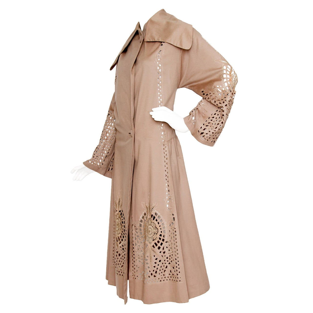 1920s Cashmere Duster Coat w Beautiful Cut Work Detail OS For Sale