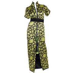 1977 Yves Saint Laurent Satin Chinoiserie Dress S