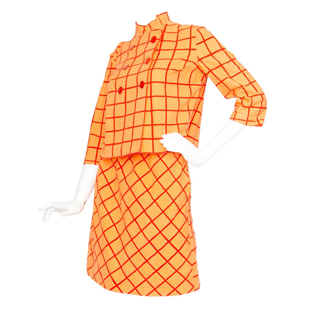 1960s Marimekko Cotton Color Block Ensemble XS