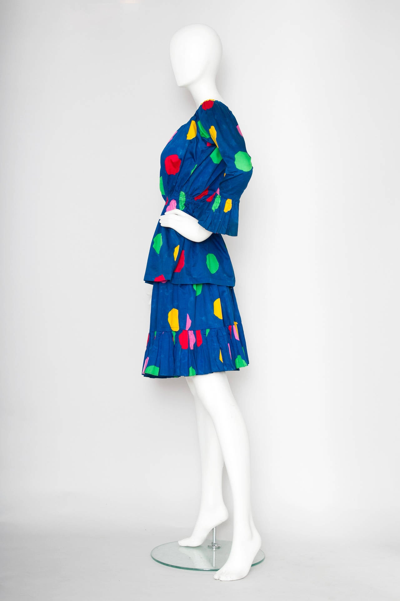 Blue A 1980s Vintage Yves Saint Laurent Rive Gauche Two-piece Dress For Sale
