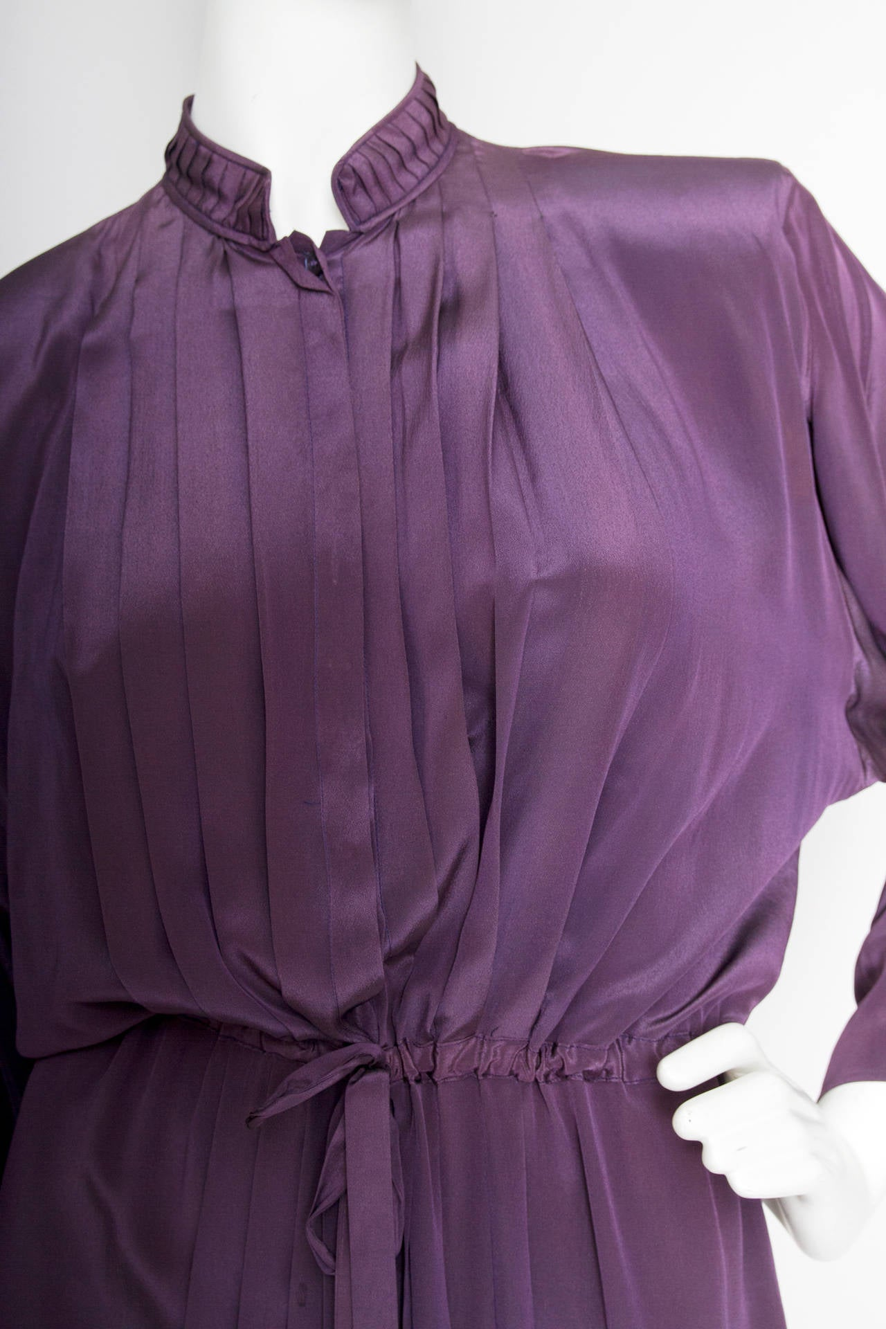 1980s Christian Dior Purple Silk Day Dress 5