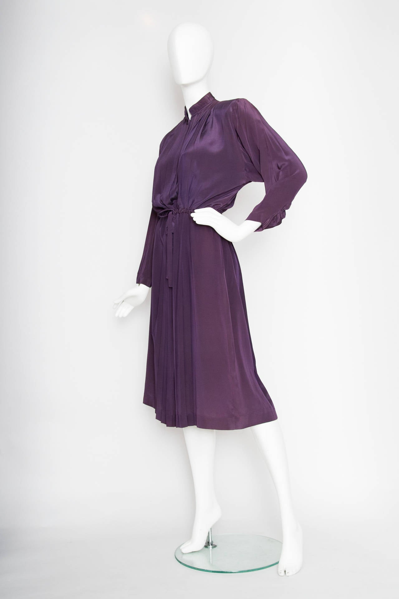1980s Christian Dior Purple Silk Day Dress 2