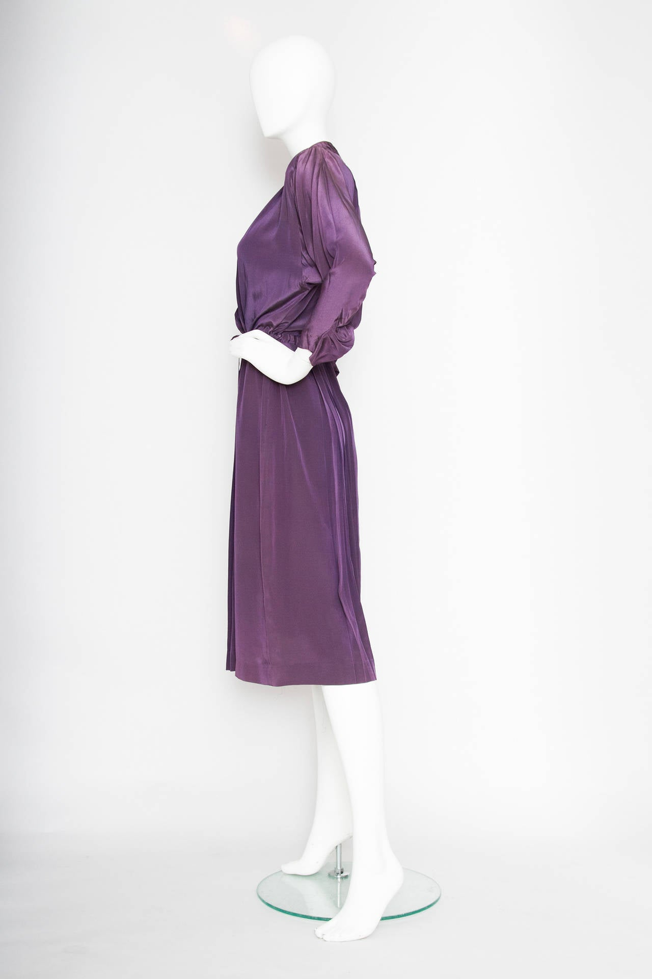 1980s Christian Dior Purple Silk Day Dress 3