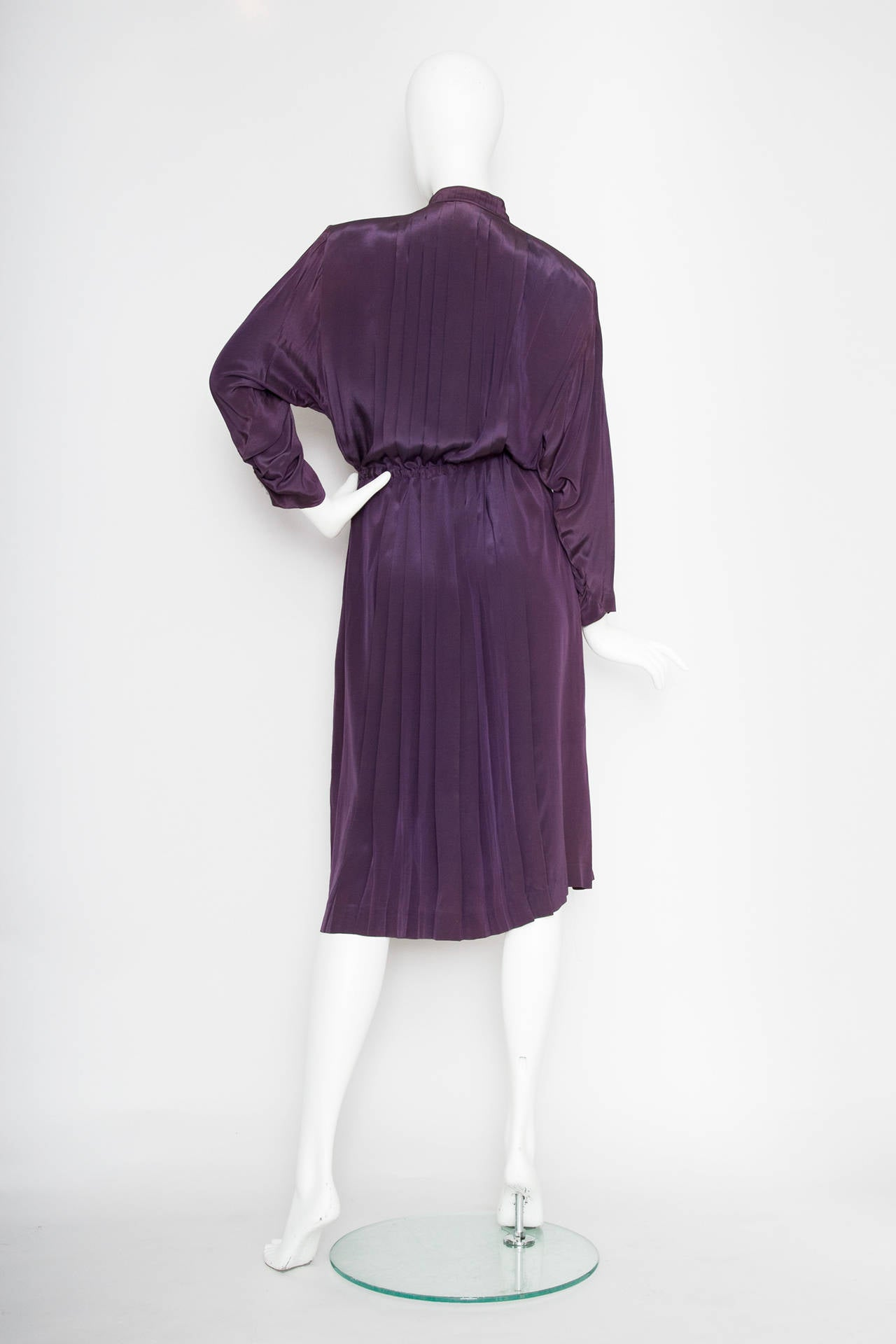 1980s Christian Dior Purple Silk Day Dress 4