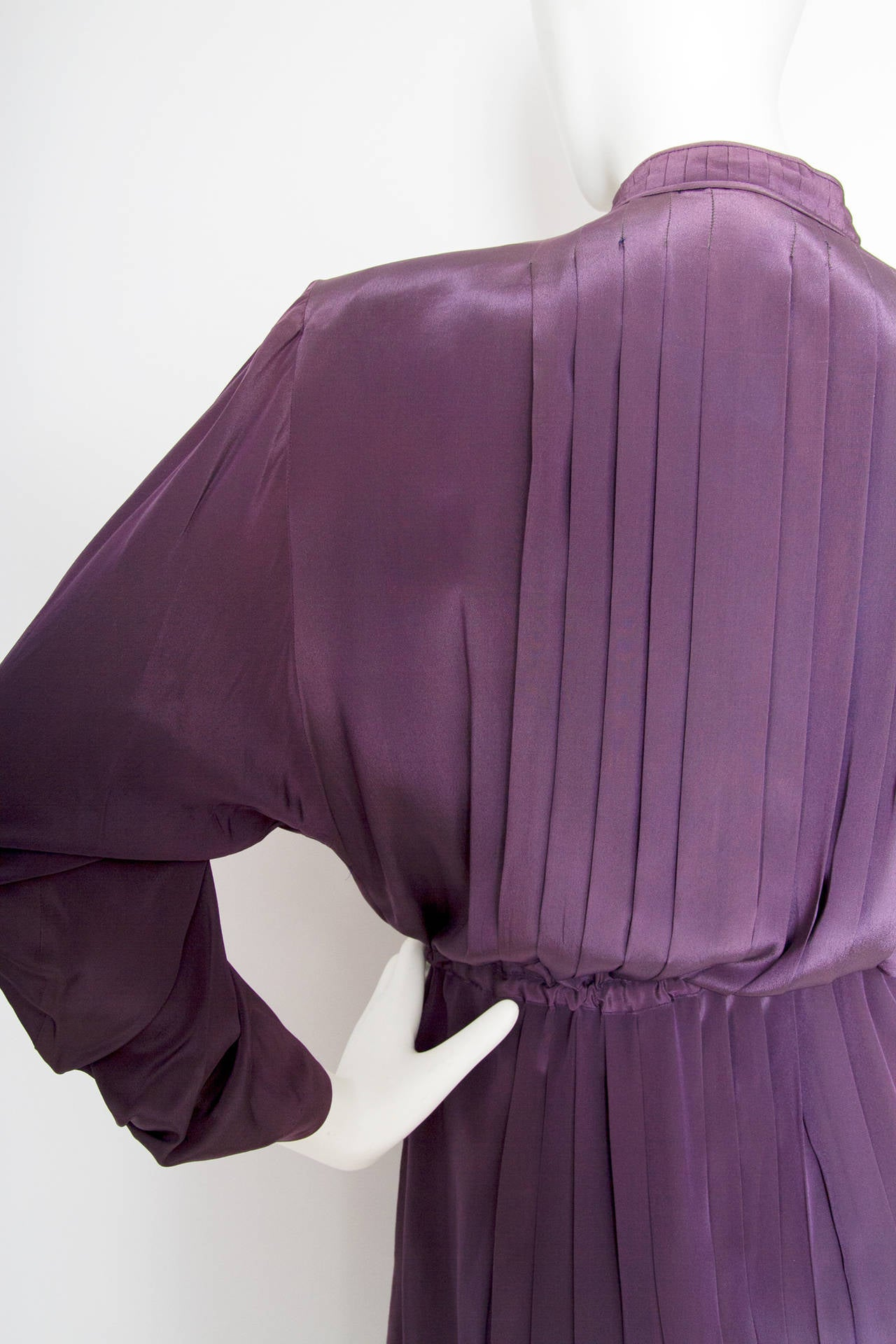 1980s Christian Dior Purple Silk Day Dress 7