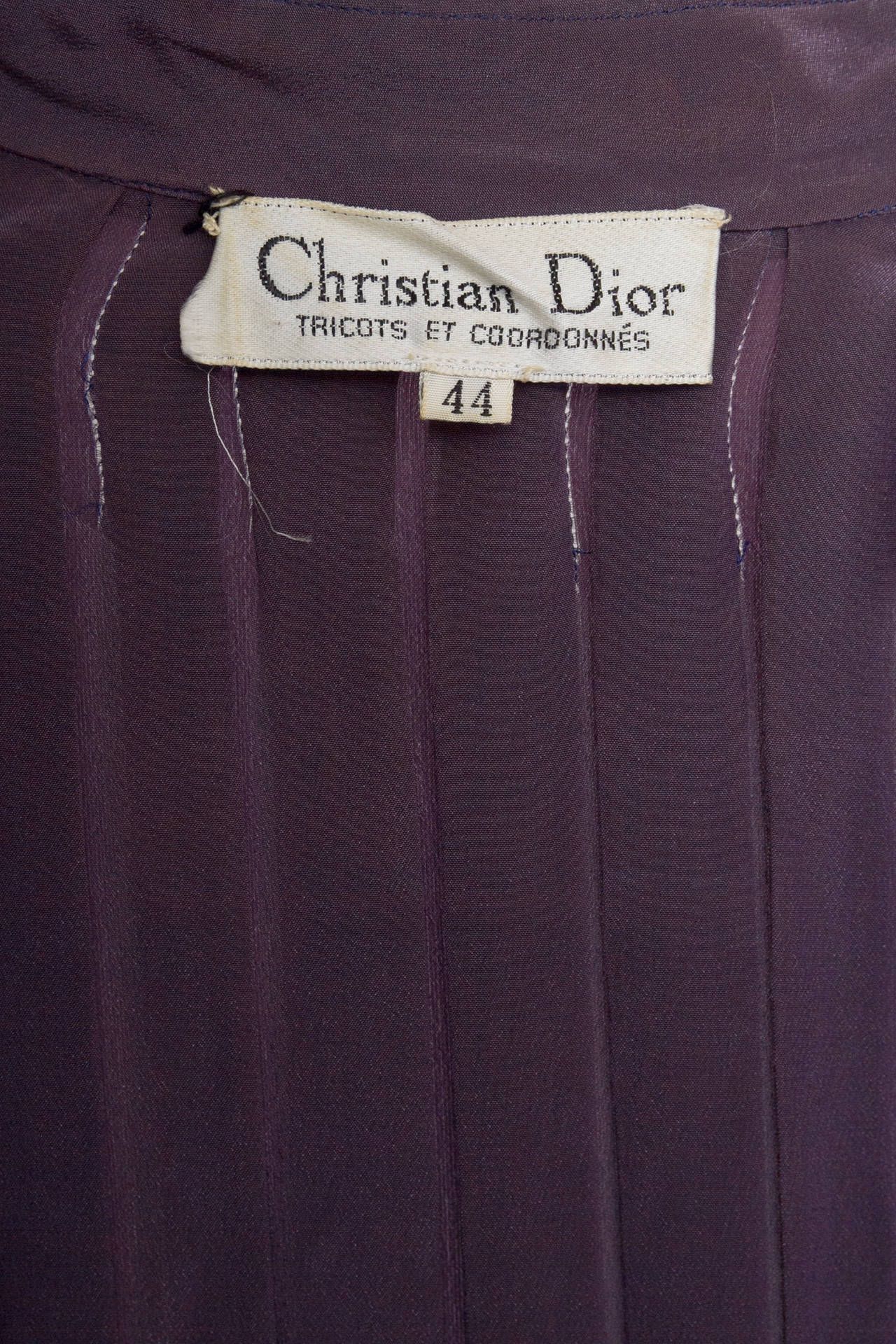 1980s Christian Dior Purple Silk Day Dress 8