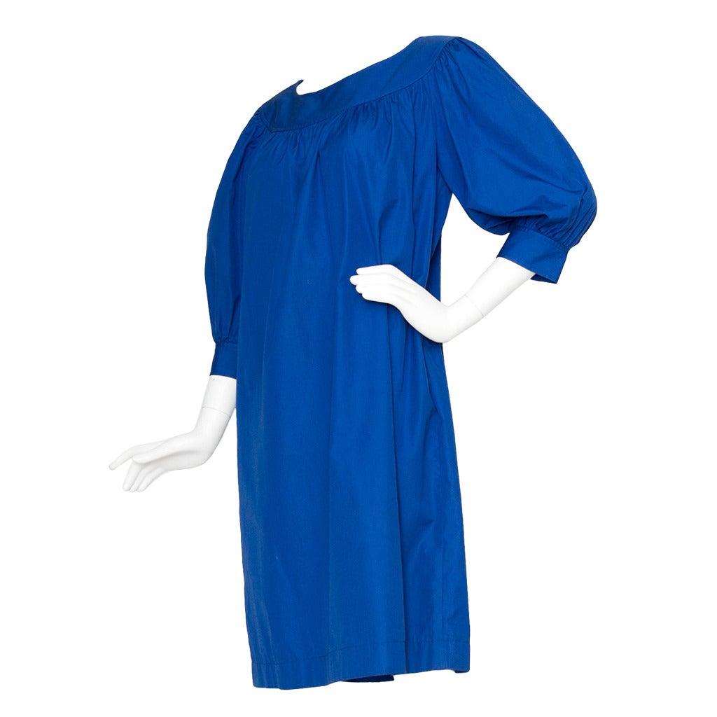 1980s Yves Saint Laurent Blue Tent Dress