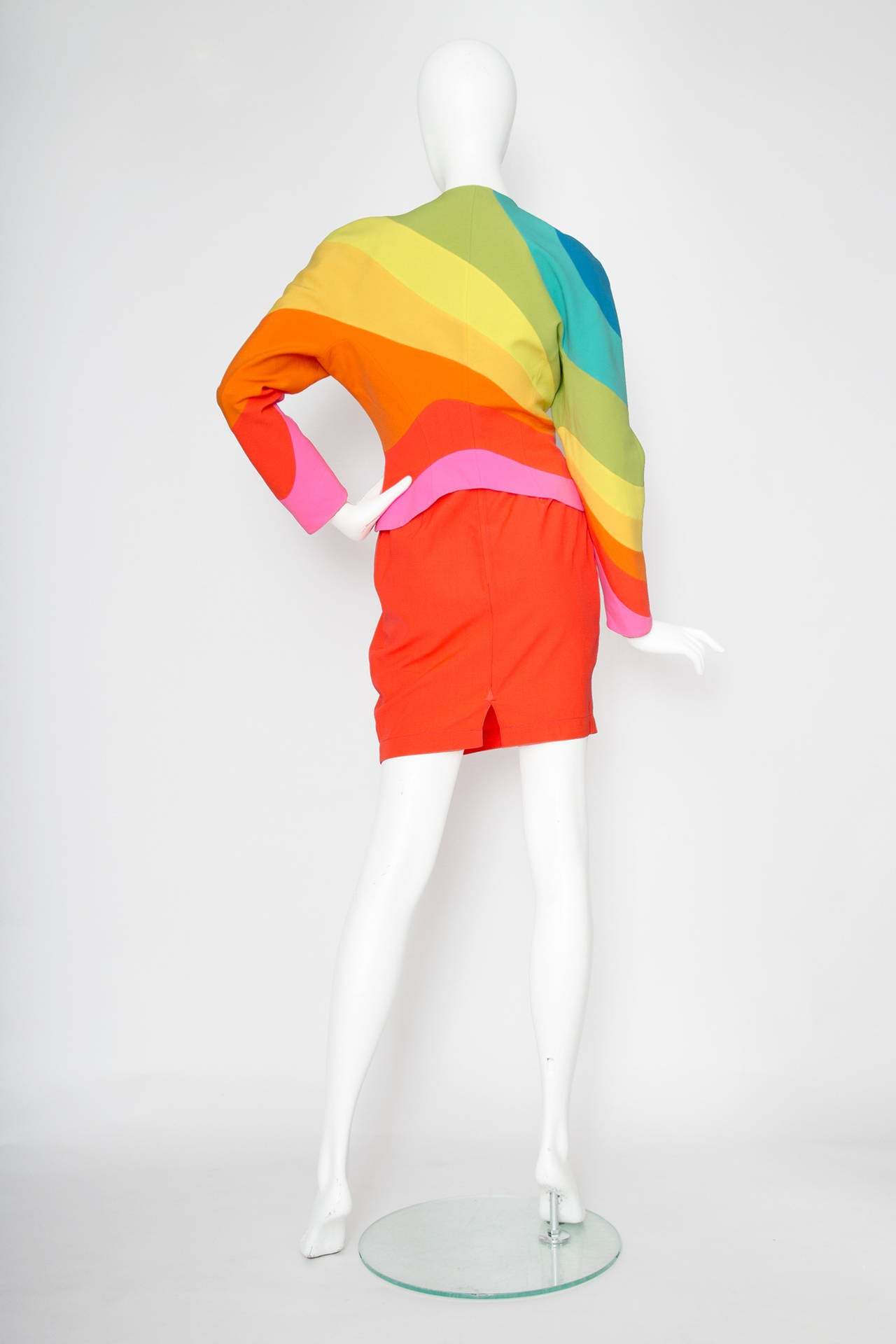 Iconic S/S 1990 Thierry Mugler Rainbow Wool Skirt Suit In Excellent Condition For Sale In Copenhagen, DK