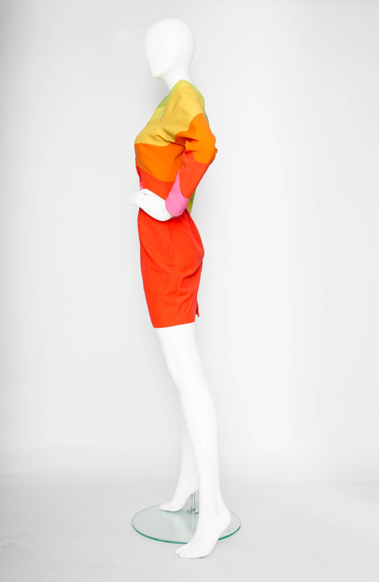 Red Iconic S/S 1990 Thierry Mugler Rainbow Wool Skirt Suit For Sale