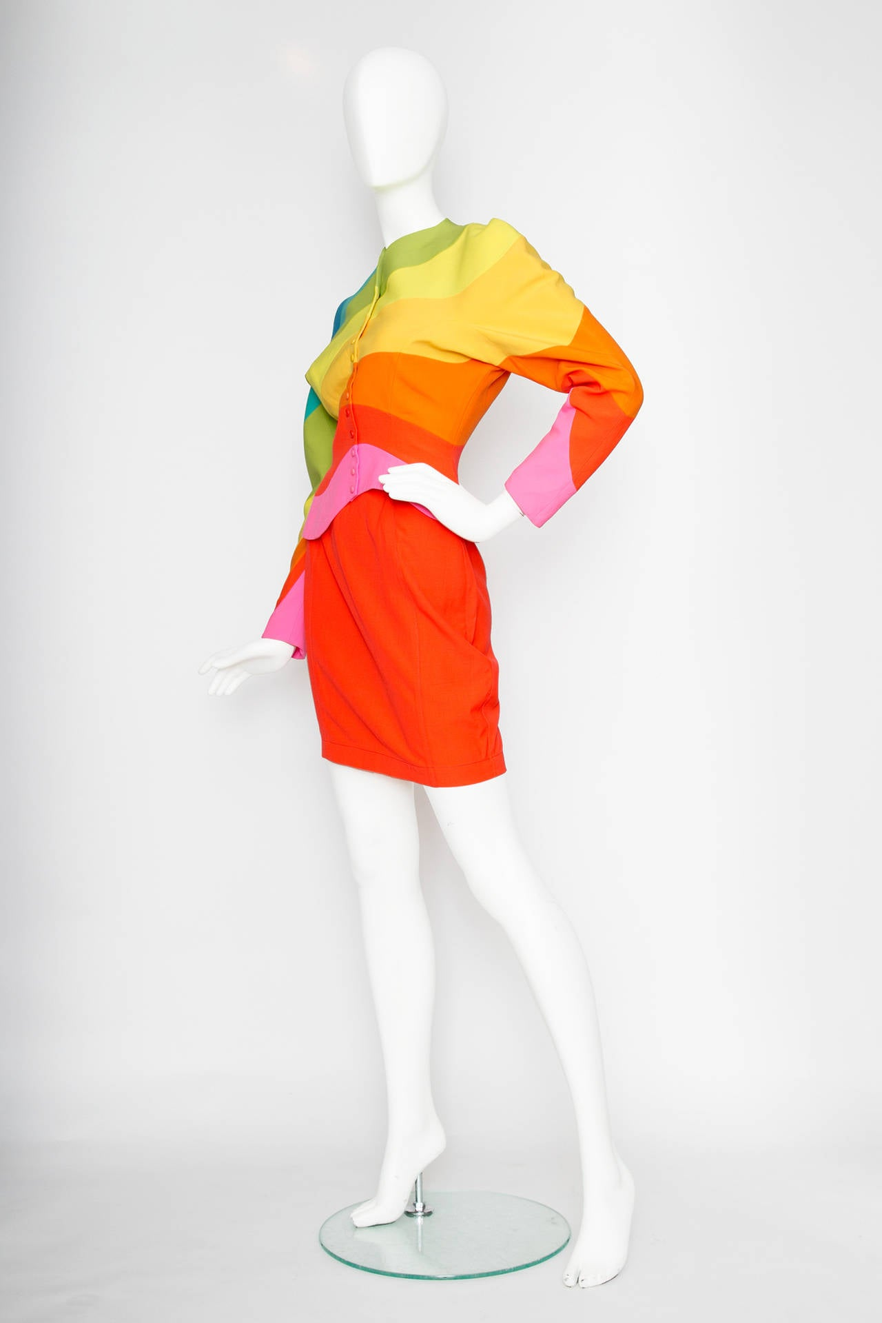 Iconic S/S 1990 Thierry Mugler Rainbow Wool Skirt Suit 2