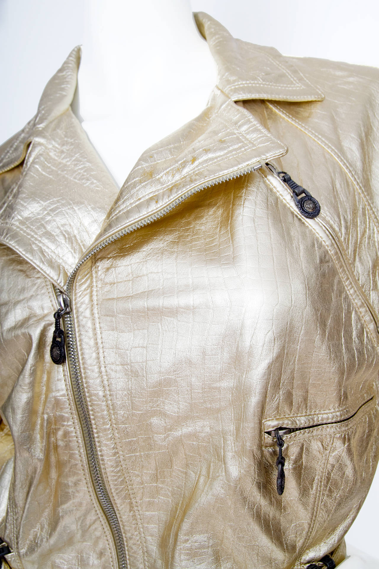 1980s Gold Gianni Versace Leather Biker Jacket For Sale 4