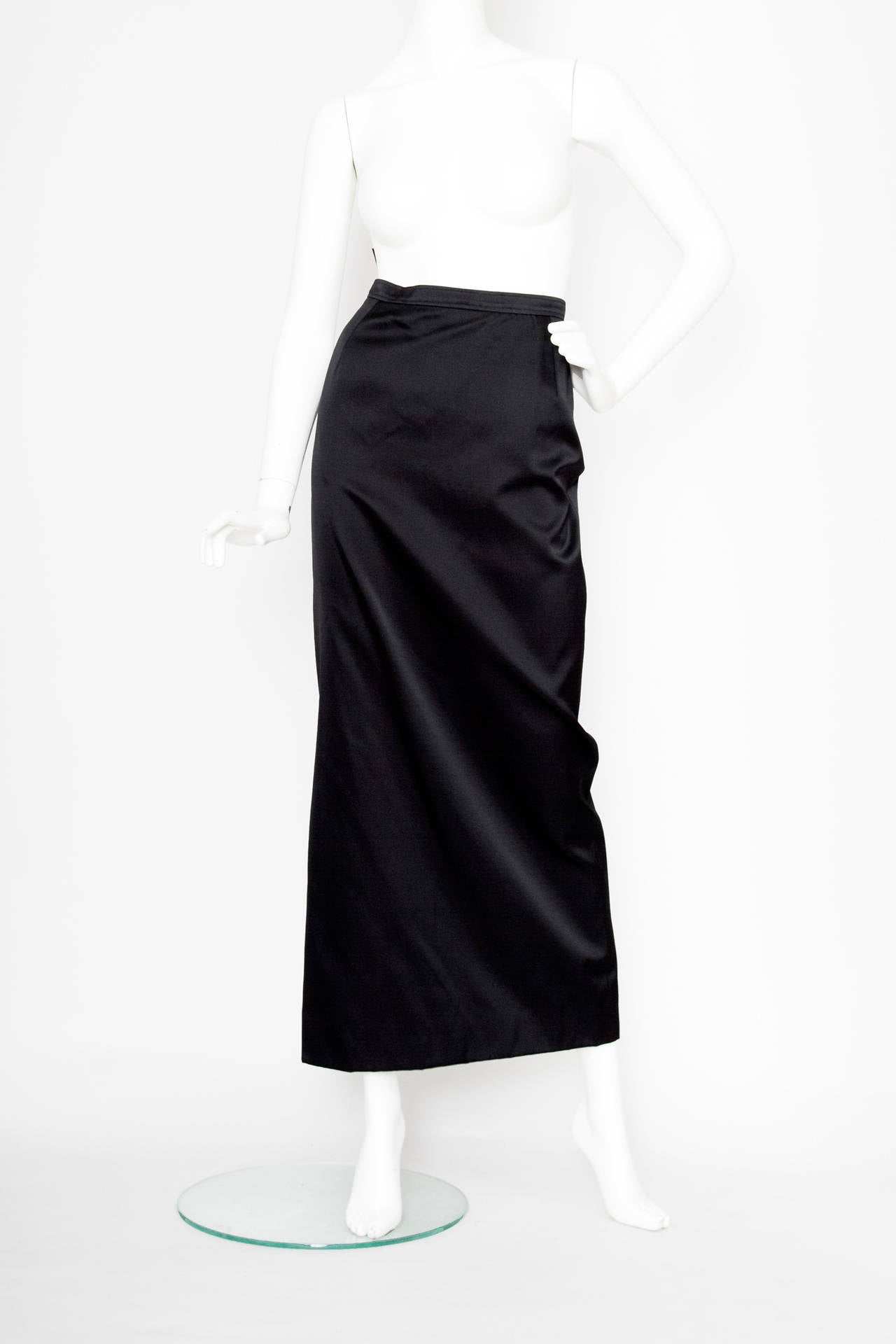 Women's 1990s Yves Saint Laurent Black Silk Satin Evening Skirt For Sale