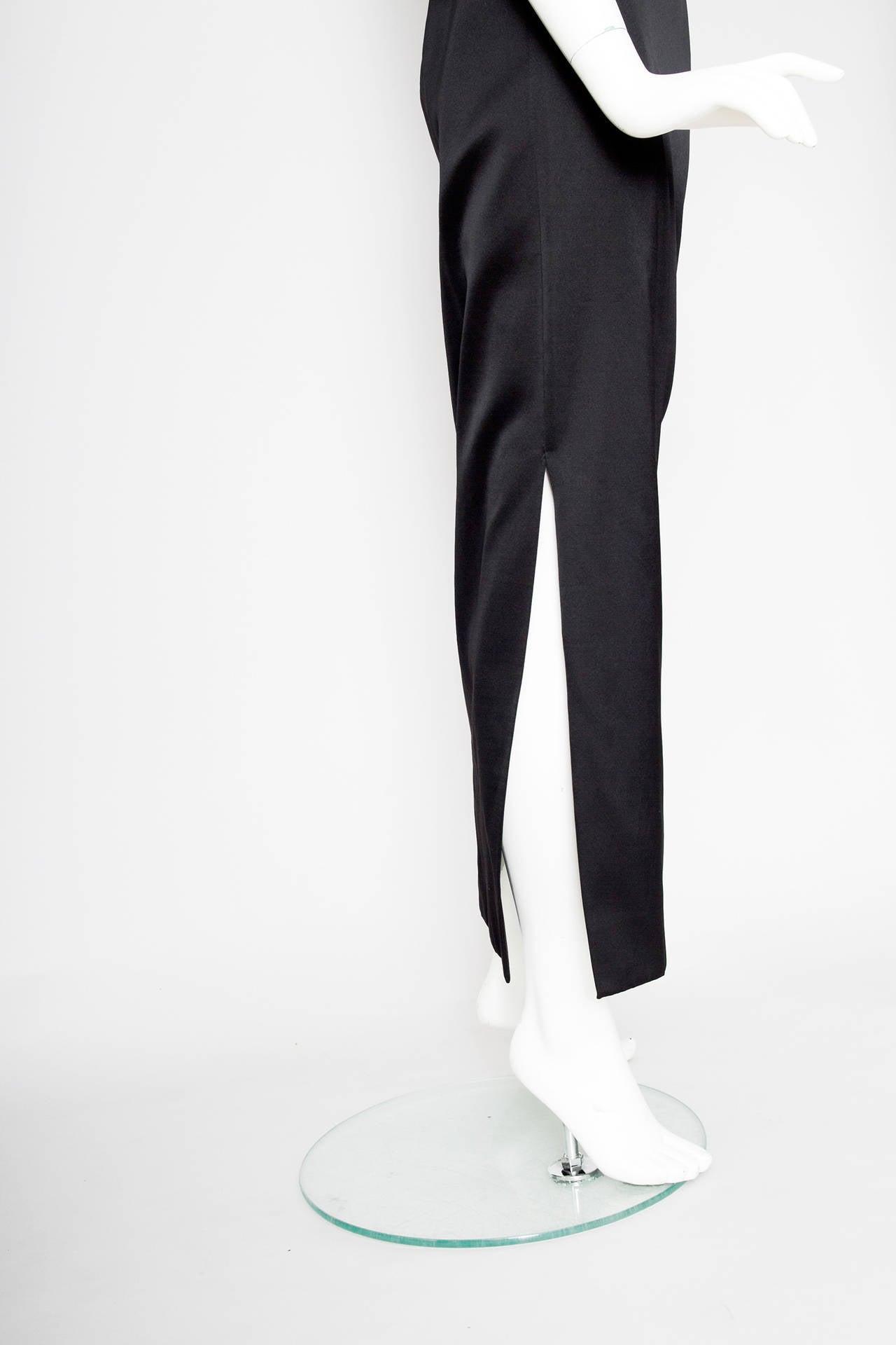1990s Yves Saint Laurent Black Silk Satin Evening Skirt For Sale 1