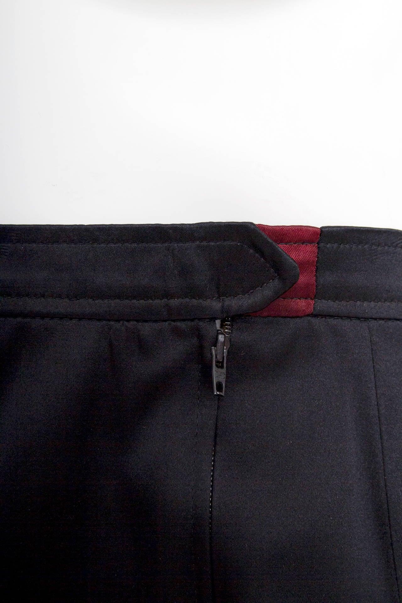 1990s Yves Saint Laurent Black Silk Satin Evening Skirt For Sale 2