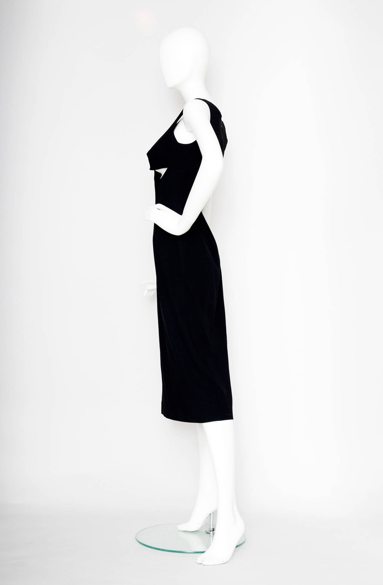 1990s Jean Paul Gaultier Black Cotton Cutout Dress In Fair Condition For Sale In Copenhagen, DK