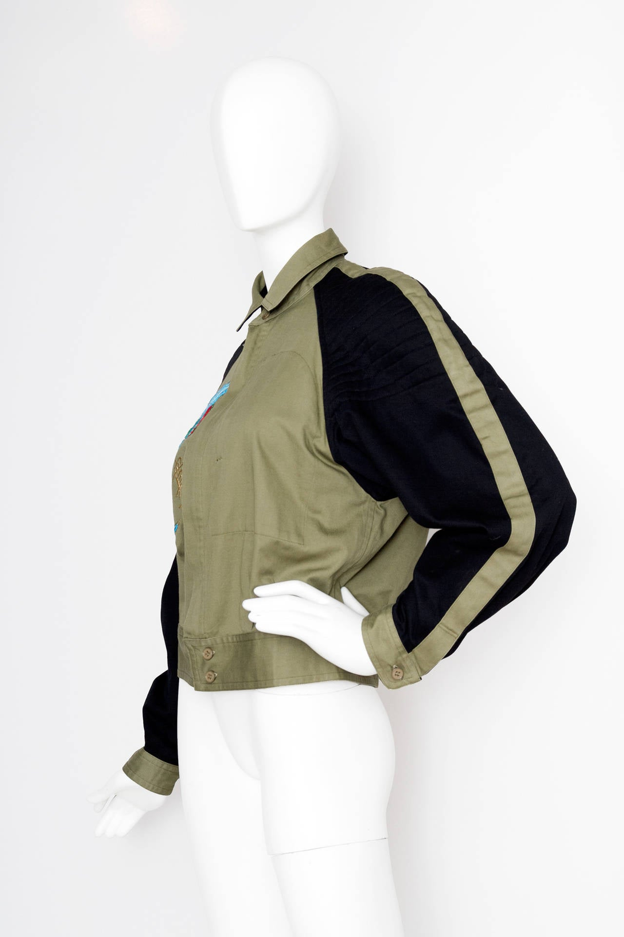Black 1980s Kansai Yamamoto Canvas Biker jacket For Sale