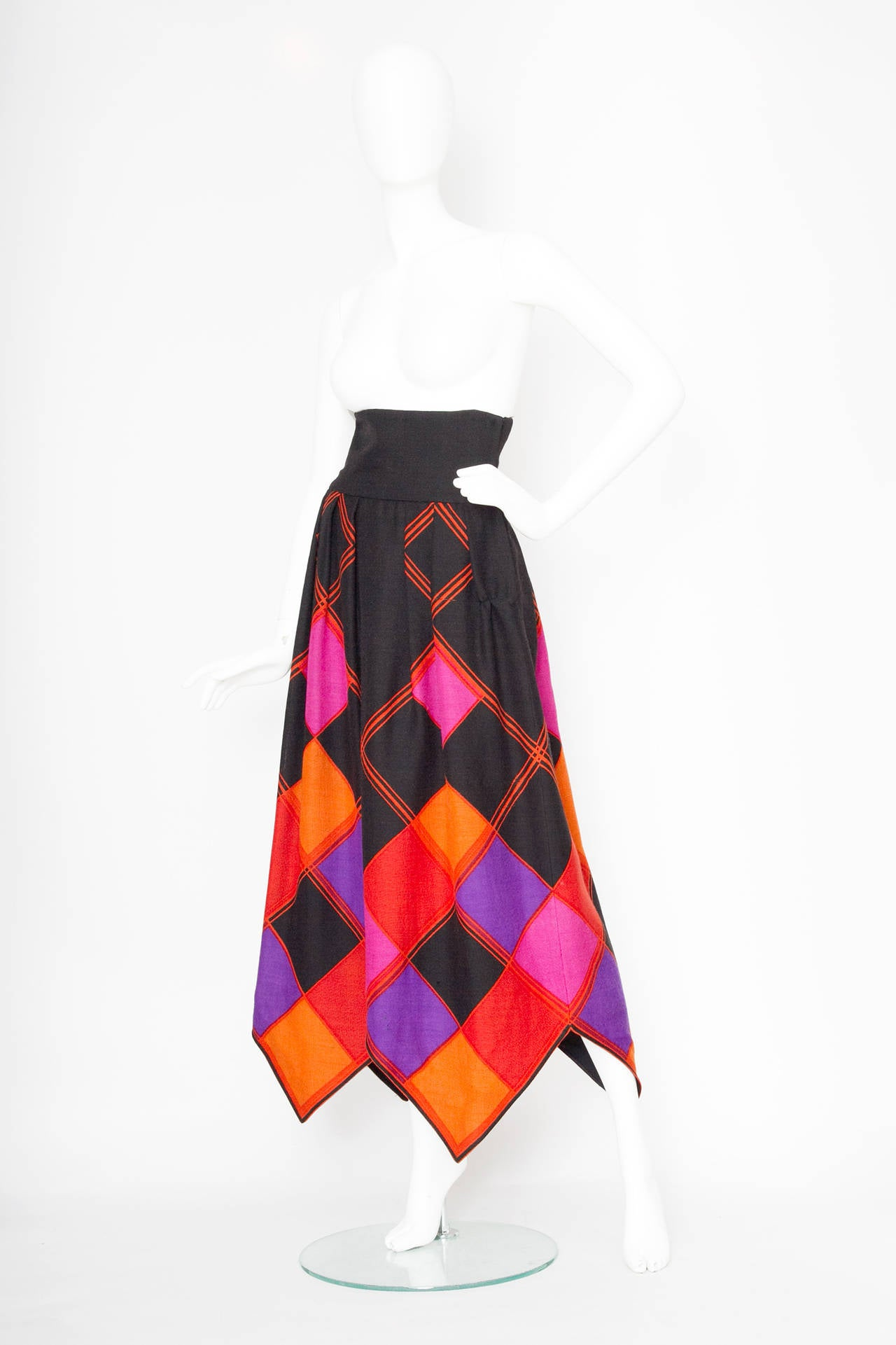 Doucmented 1971 Pierre Cardin Graphic Wool Skirt 5