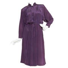 1980s Christian Dior Purple Silk Day Dress