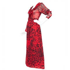 Dramatic 1970s Lanvin Red Silk Dress