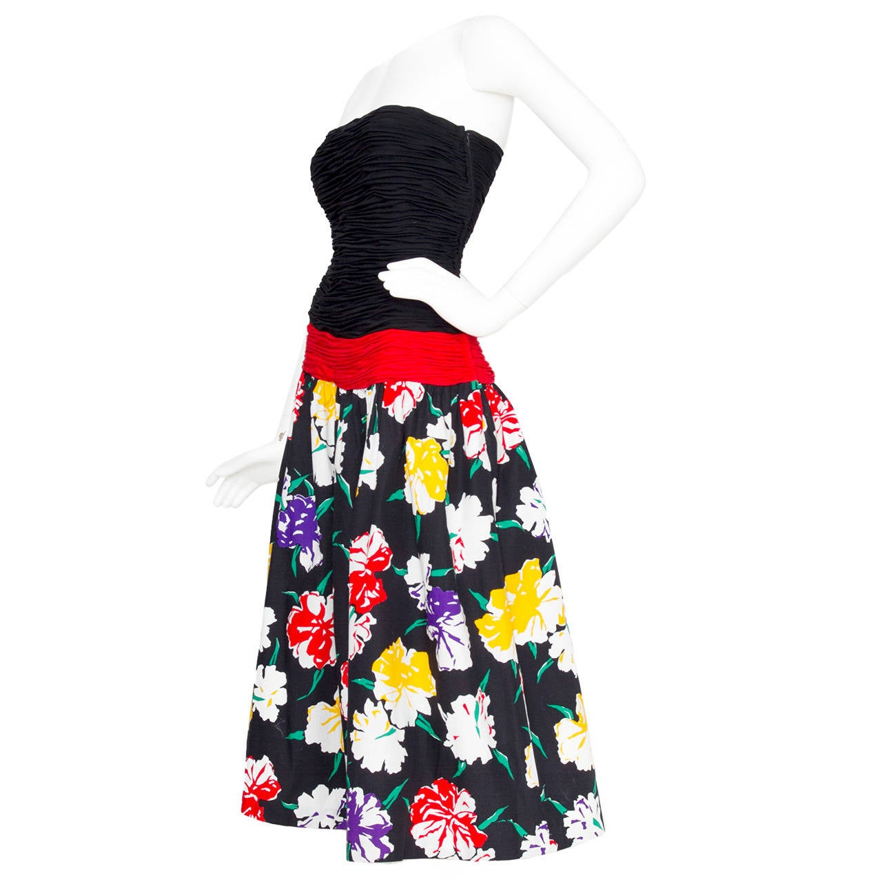 1980s Valentino Ruched Floral Dress
