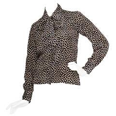 1970s Yves Saint Laurent Pussy Bow Silk Shirt