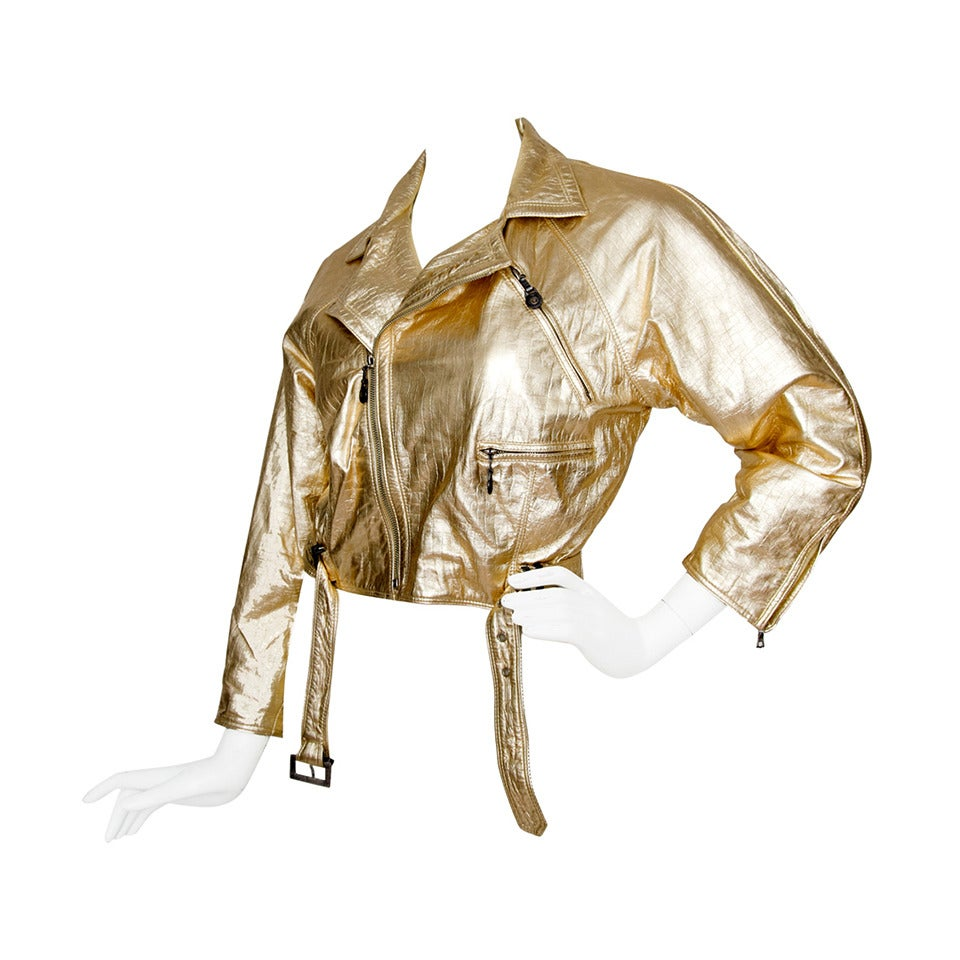 1980s Gold Gianni Versace Leather Biker Jacket