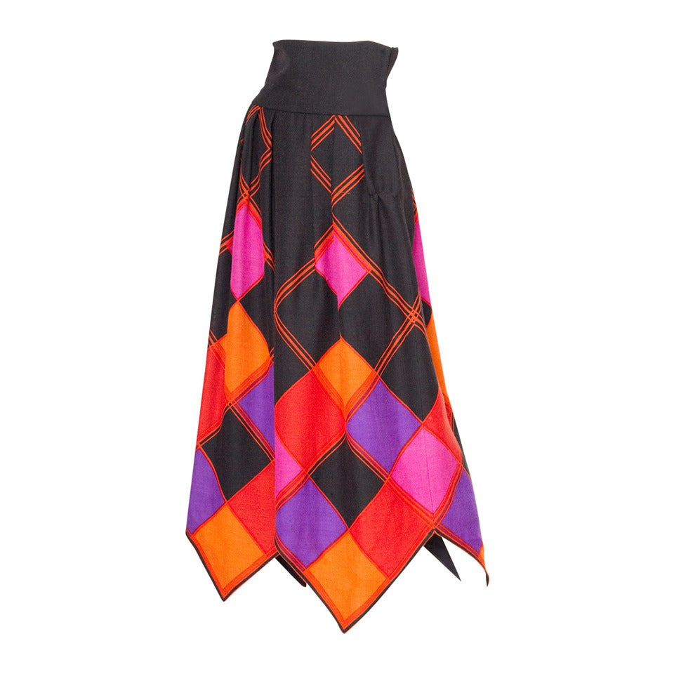 Doucmented 1971 Pierre Cardin Graphic Wool Skirt 1