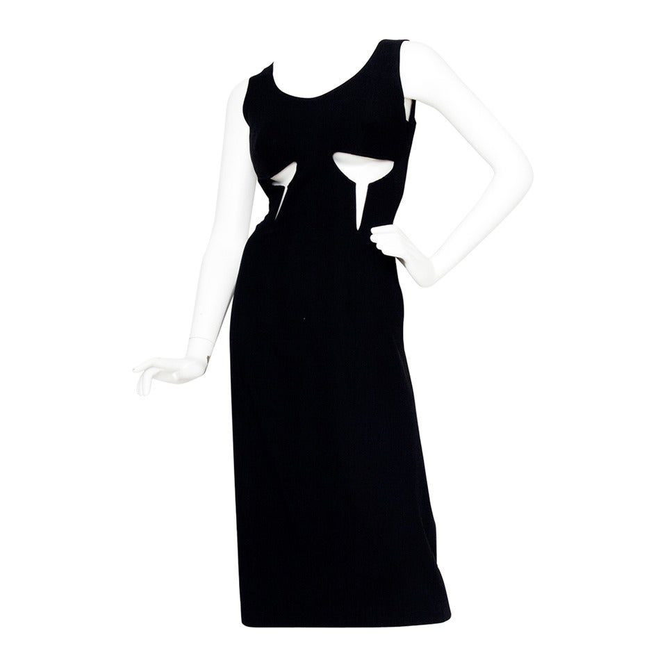 1990s Jean Paul Gaultier Black Cotton Cutout Dress