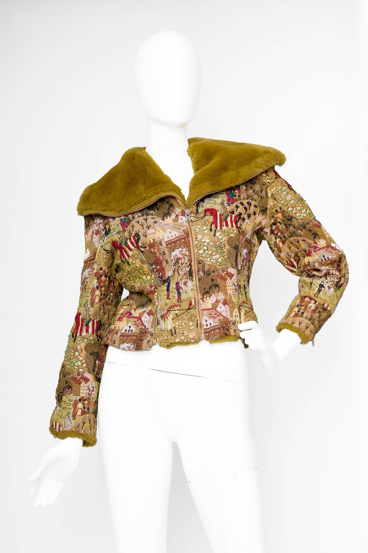 1950s Embroidered Avant Garde Tapestry Jacket by Lilli Ann 2