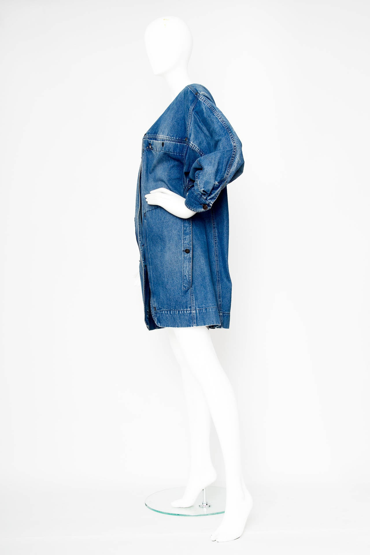 1980s claude montana denim jacket and skirt ensemble at
