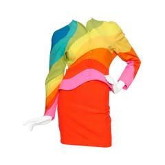 Iconic S/S 1990 Thierry Mugler Rainbow Wool Skirt Suit
