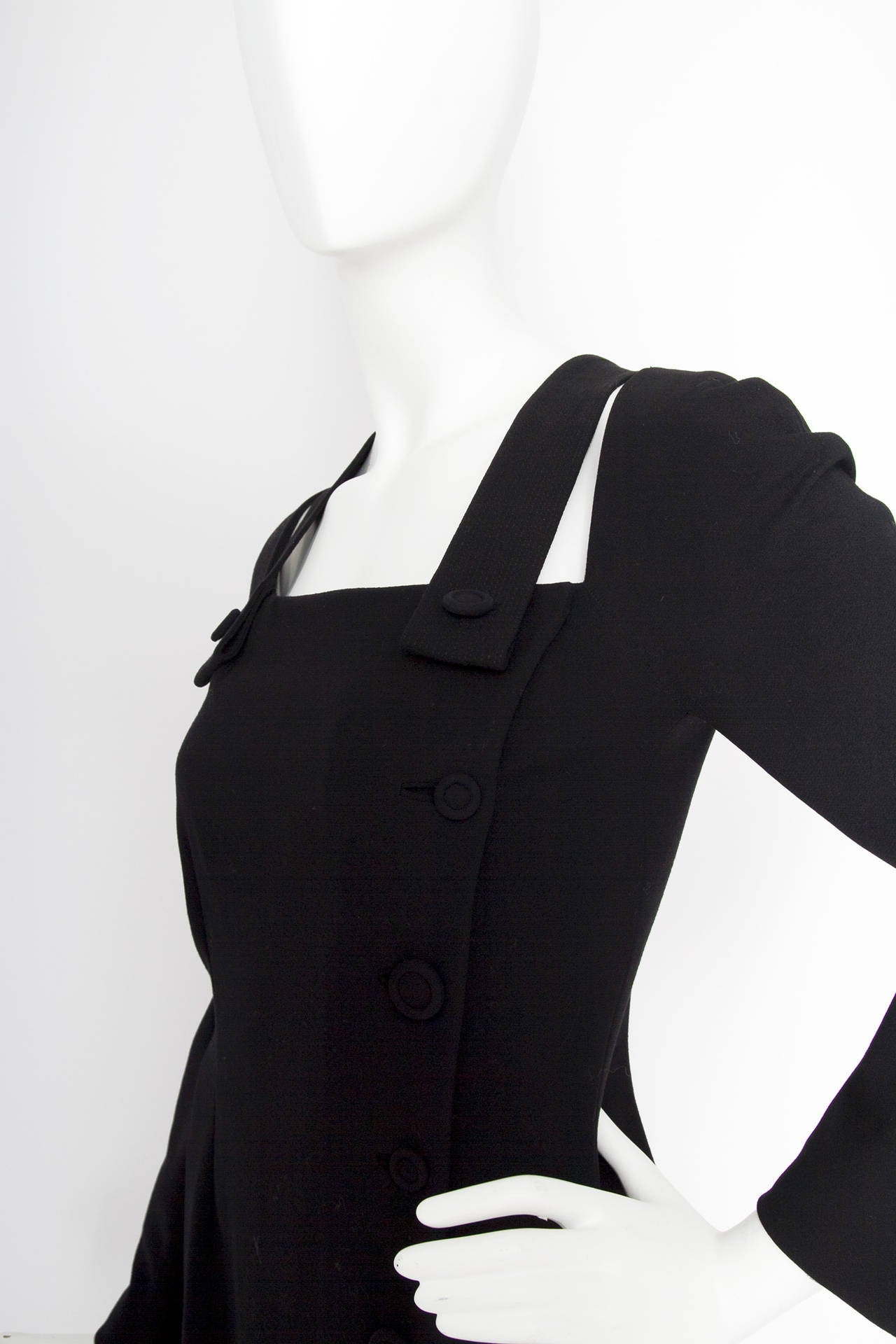 1980s Gianni Versace Couture Wool Little Black Dress For Sale 1
