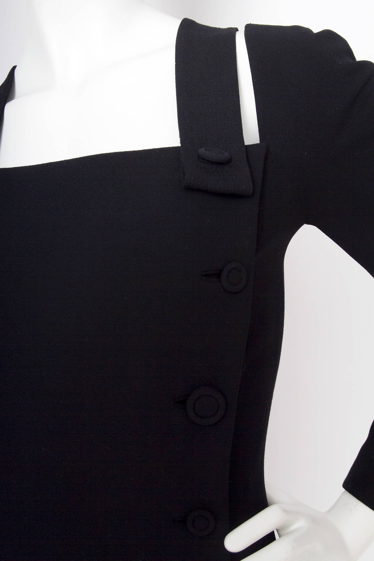 1980s Gianni Versace Couture Wool Little Black Dress For Sale 2