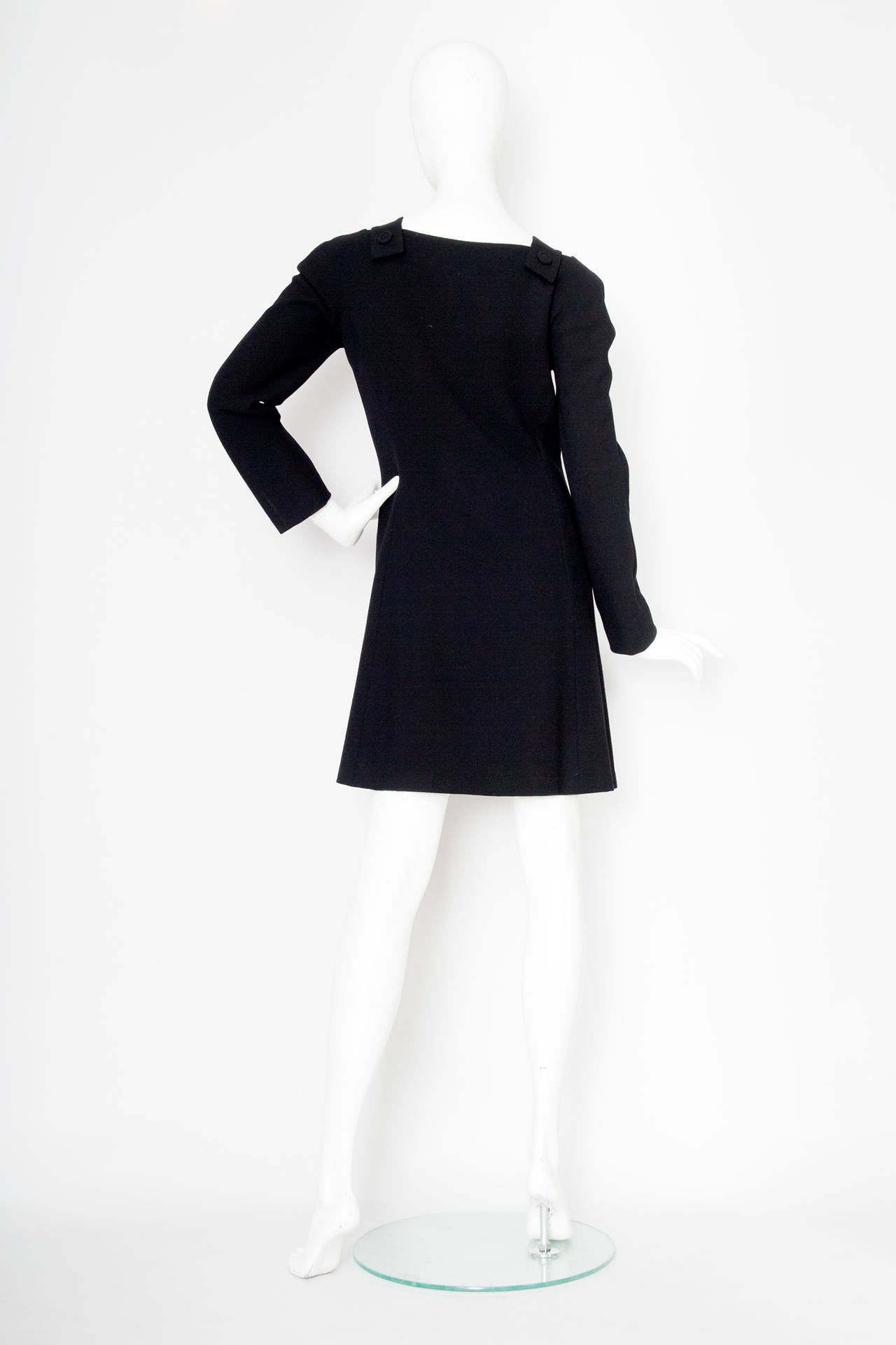 Women's 1980s Gianni Versace Couture Wool Little Black Dress For Sale